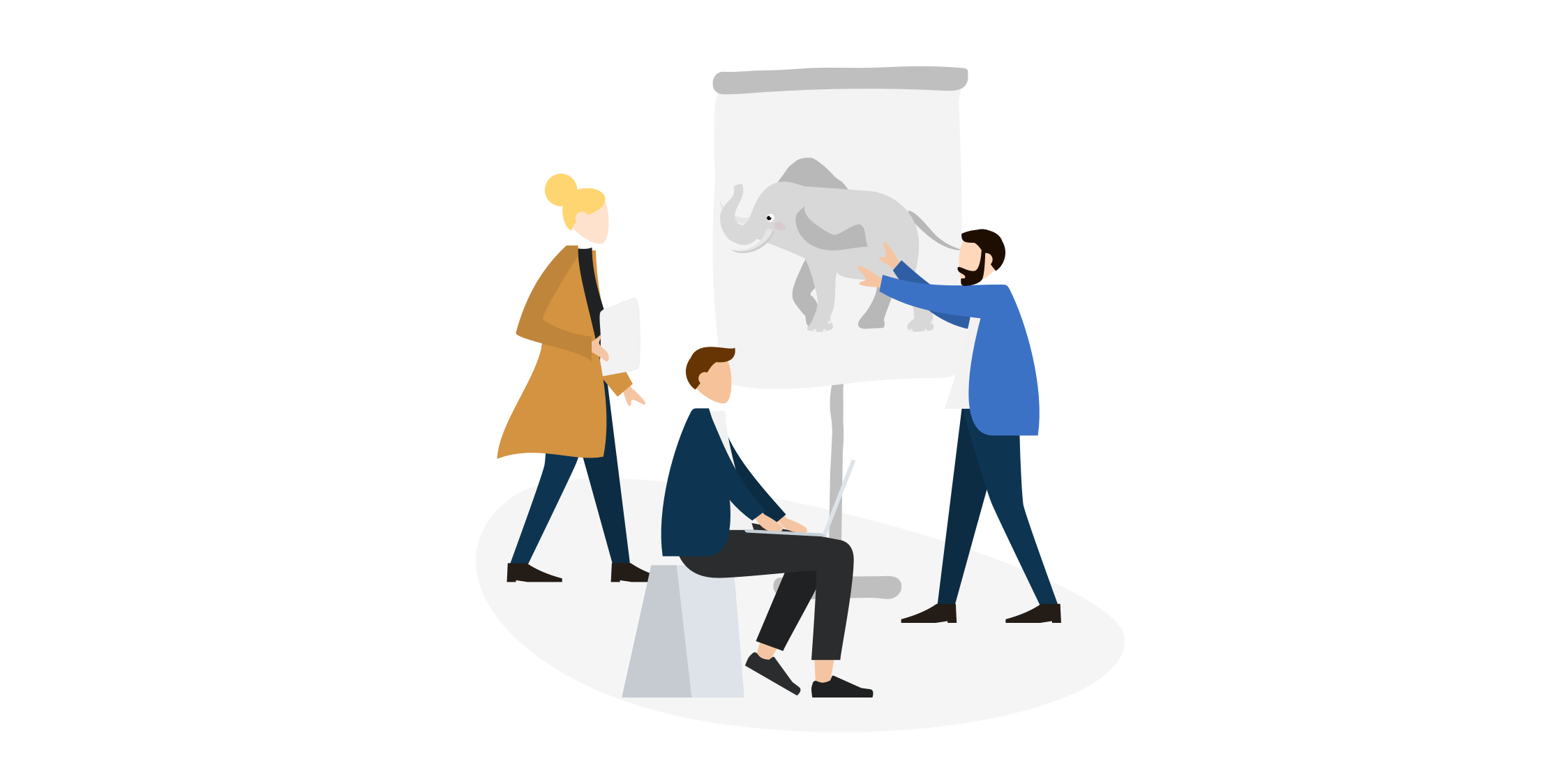 Employees discuss in front of a flipchart with a drawn elephant