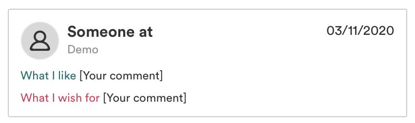 Screenshot vom Pulse User Interface welcher einen anonymen Kommentar ohne Foto und ohne Namen zeigt