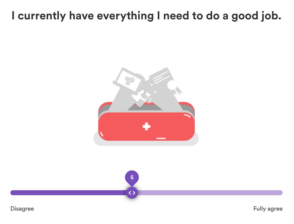 Screenshot der Pulse Befragung mit dem Score Bewertungsslider